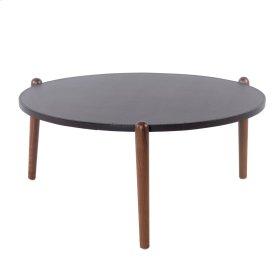 Farren Round Coffee Table Walnut Legs, Umber Brown