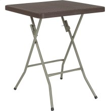 23.5'' Square Brown Rattan Plastic Folding Table [DAD-FT60-GG