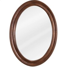 """23-3/4"""" x 31-1/2"""" Oval mirror with beveled glass and Nutmeg finish."""