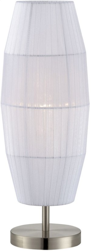 Table Lamp, Ps/white Organza Shade, E27 Type Cfl 13w