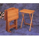 Brown Tray Table Set With Stand Product Image