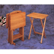Brown Tray Table Set With Stand