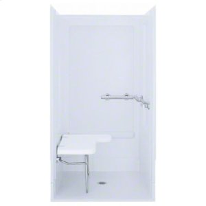 """OC-SS-39, Series 6205, 39-3/8"""" x 39-3/8"""" x 72"""" Transfer Shower - Seat on Left, Grab Bars at Right - White Product Image"""
