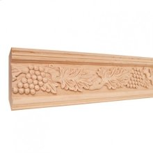"""4-3/4"""" x 1-1/8"""" Hand Carved Acanthus & Grape Crown Moulding. Species: Basswood. Priced by the linear foot and sold in 8' sticks in cartons of 80'."""