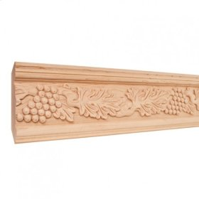 "4-3/4"" x 1-1/8"" Hand Carved Acanthus & Grape Crown Moulding. Species: Basswood. Priced by the linear foot and sold in 8' sticks in cartons of 80'."