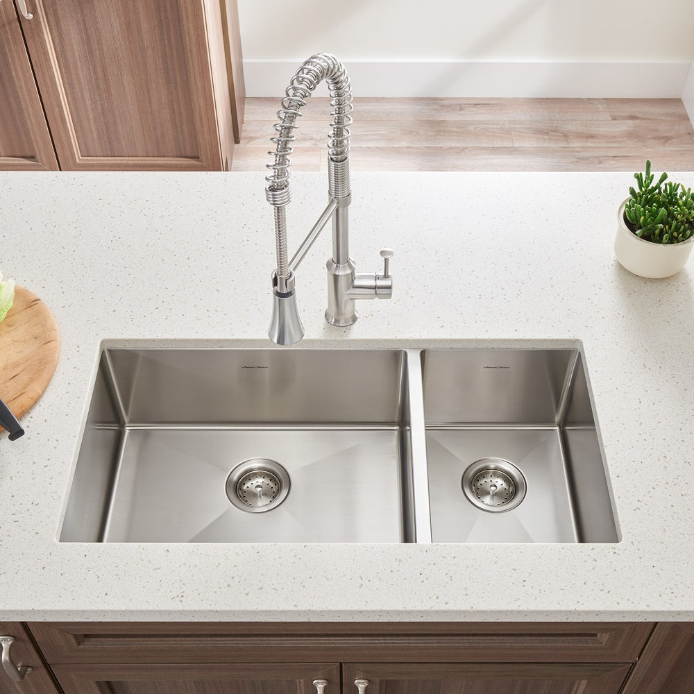 Pekoe 35x18 Inch Offset Double Bowl Kitchen Sink American Standard    Stainless Steel