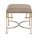Hammered Gold Leaf Stool W. Beige Linen Upholstered Top. Product Image