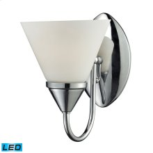 1Light Glass Bath Bar in Chrome Finish - LED Offering Up To 800 Lumens (60 Watt Equivalent) with Ful