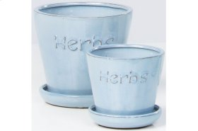 Blue Herbs Petits Pots with Attached Saucer - Set of 2