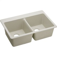 "Elkay Quartz Classic 33"" x 22"" x 9-1/2"", Equal Double Bowl Drop-in Sink, Bisque"