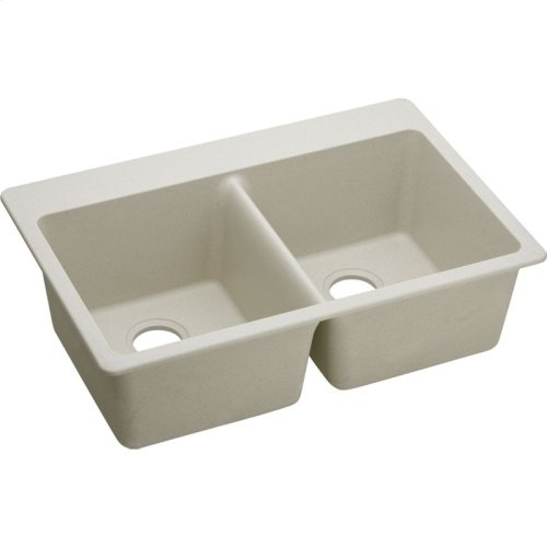 "Elkay Quartz Classic 33"" x 22"" x 9-1/2"", Equal Double Bowl Drop-in Sink, Bisque"