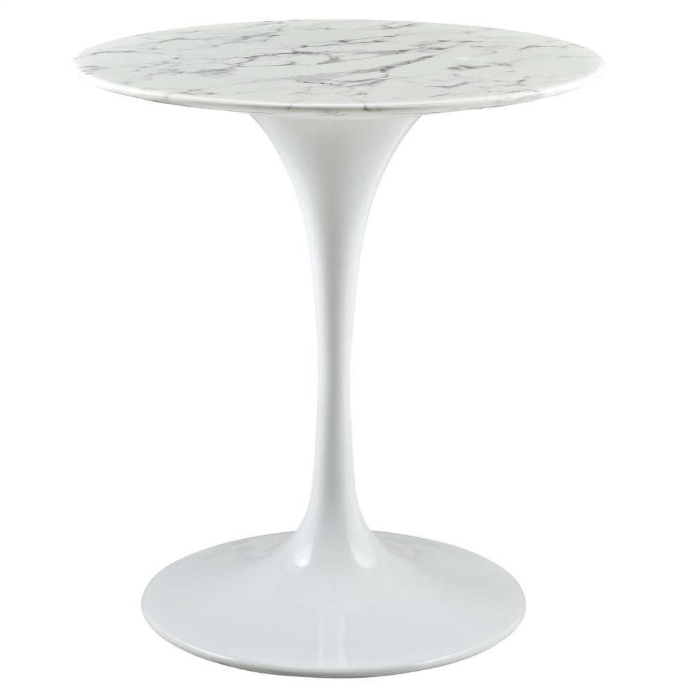 """Lippa 28"""" Round Artificial Marble Dining Table in White"""