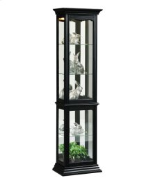 Tall 4 Shelf Mirror Backed Curio Cabinet in Onyx Black