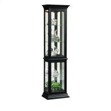 Tall 4 Shelf Mirror Backed Curio Cabinet in Onyx Black
