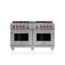 """60"""" Dual Fuel Range - 6 Burners, Infrared Charbroiler and Infrared Griddle"""