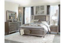 Queen Platform LED Bed with Footboard Storage