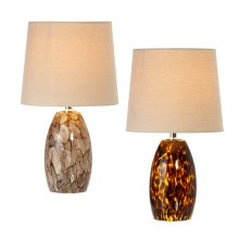 Amber & Neutral Art Glass Accent Lamp. Each One Will Vary. 40W Max. (4 pc. ppk.)