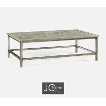 Rustic Grey Rectangular Coffee Table with Iron Base