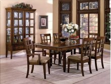 Merlot Grey Dining Table, 4 Side Chairs & 2 Arm Chairs