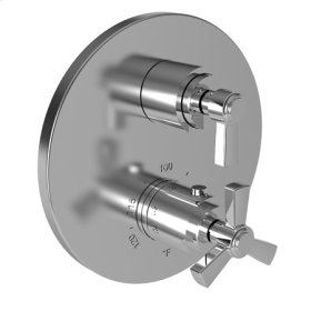 """Satin Nickel - PVD 1/2"""" Round Thermostatic Trim Plate with Handle"""