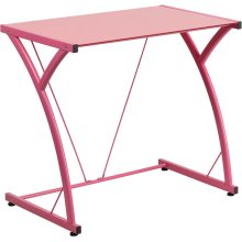 Contemporary Tempered Pink Glass Computer Desk with Matching Metal Frame