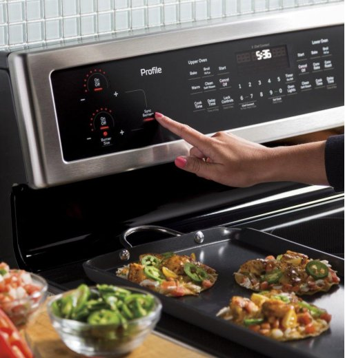 """GE Profile™ Series 30"""" Free-Standing Electric Double Oven Convection Range"""