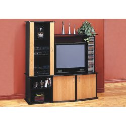 TV STAND - BLACK / MAPLE ENTERTAINMENT CENTER