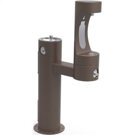 Elkay Outdoor ezH2O Bottle Filling Station Bi-Level Pedestal, Non-Filtered Non-Refrigerated Freeze Resistant Brown