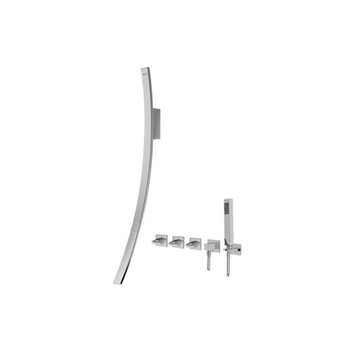 Luna Wall-Mounted Tub Filler w/Wall-Mounted Handles & Handshower Set