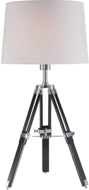 Table Lamp, Chrome/blk/wht Fabric Shade, E27 Cfl 23w