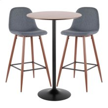 Pebble Pub Set - Black Metal, Walnut Wood, Walnut Metal, Blue Fabric