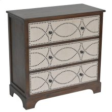 Claire Wood & Linen 3 Drawer Nailhead Chest