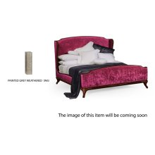 US Queen Louis XV Grey Weathered Bed, Upholstered in Fuchsia Velvet
