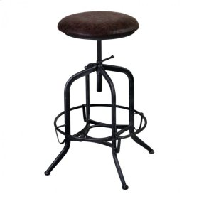Armen Living Elena Adjustable Barstool in Industrial Gray Finish with Brown Fabric seat