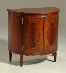 REGENCY FINISHED MAHOGANY CHIF FONIER, TAPERED LEG,CROTCH VEN EER, SATINWOOD INLAY