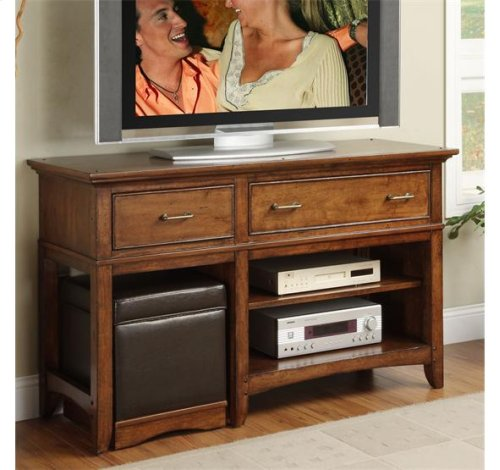 Falls Village Entertainment Console Heritage Distresed Cherry finish