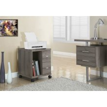 OFFICE CABINET - DARK TAUPE WITH 2 DRAWERS ON CASTORS