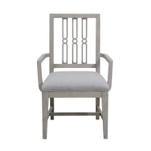 Casual Upholstered Dining Arm Chair in Grey Birch