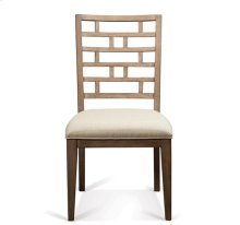 Mirabelle Curved Lattice Back Upholstered Chair Ecru finish