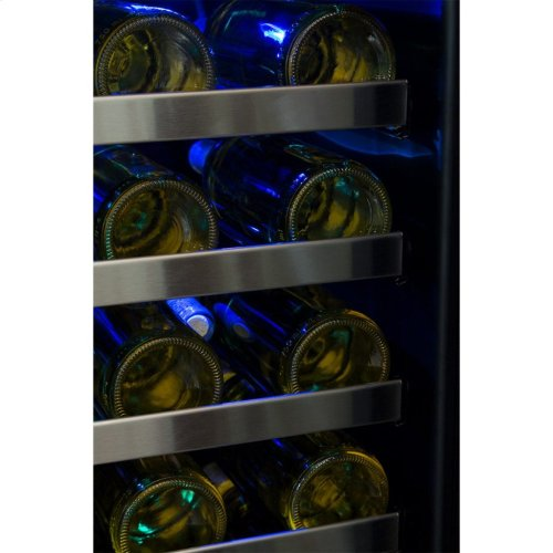 """Marvel Professional 24"""" High Efficiency Single Zone Wine Refrigerator - Stainless Frame, Glass Door With Lock - Integrated Right Hinge, Professional Handle"""
