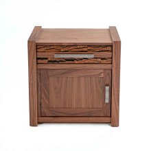 Riley 1 Door 1 Drawer Nightstand With Bark Tile-hinged Left