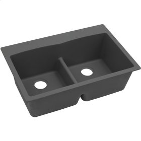 """Elkay Quartz Classic 33"""" x 22"""" x 10"""", Equal Double Bowl Drop-in Sink with Aqua Divide, Dusk Gray"""
