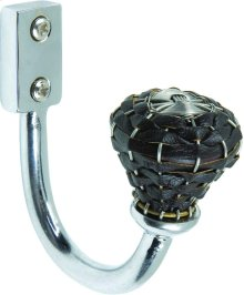 Hamptons Expresso Leather Hook 3 Inch - Polished Chrome