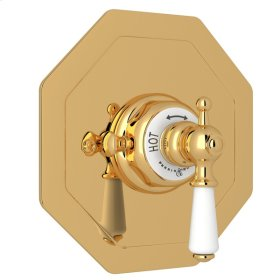 English Gold Perrin & Rowe Edwardian Octagonal Concealed Thermostatic Trim Without Volume Control with Metal Lever