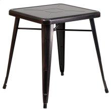 23.75'' Square Black-Antique Gold Metal Indoor-Outdoor Table