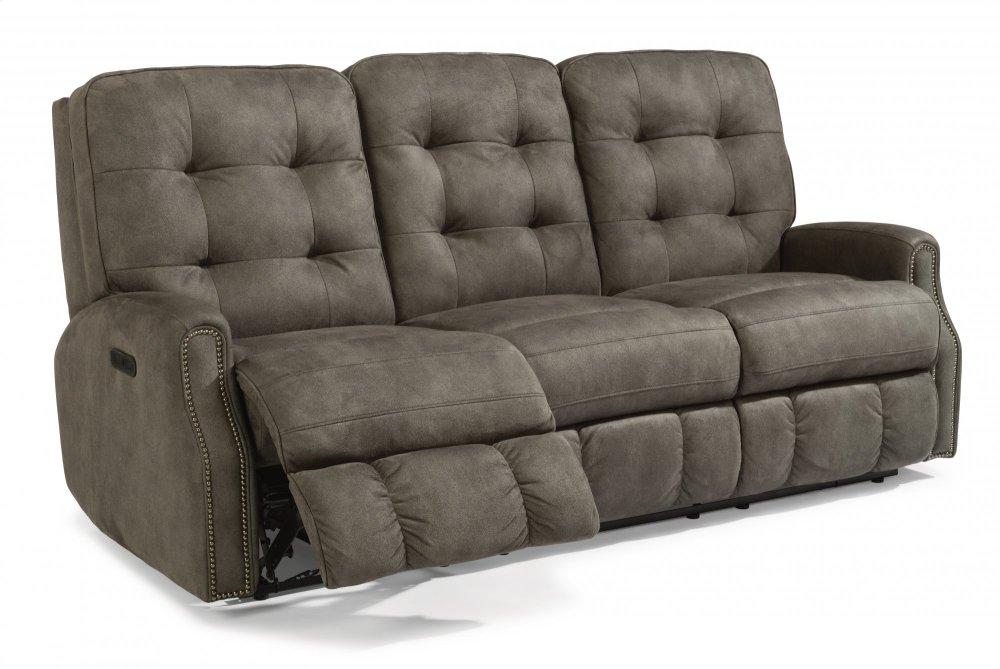 Flexsteel Devon Fabric Power Reclining Sofa With Power Headrests And Nailhead  Trim