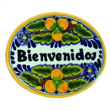 Small 'Bienvenidos' Ceramic Plaque in Peaches