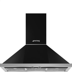 "Smeg36"" Portofino, Chimney Hood, Black"