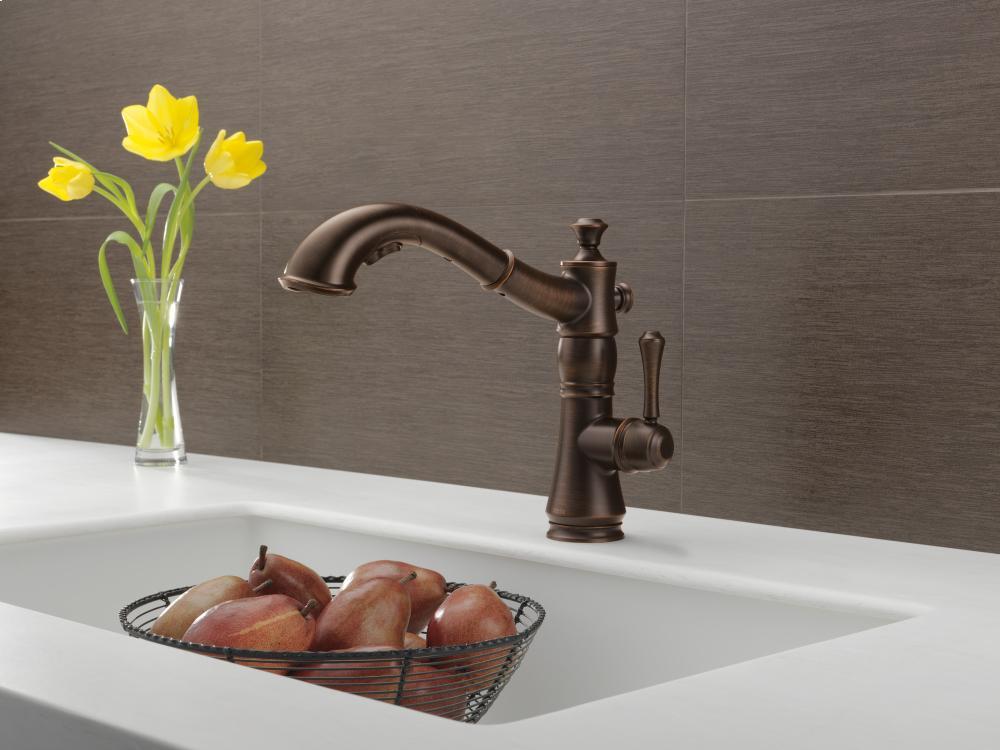 Hidden · Additional Venetian Bronze Single Handle Pull Out Kitchen Faucet