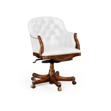 Chesterfield Style Mahogany Office Chair, Upholstered in COM